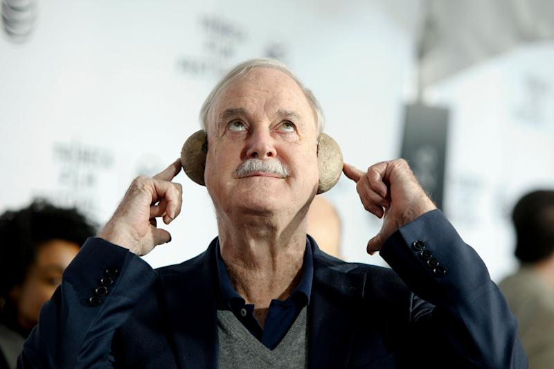 """John Cleese attends a special Tribeca Film Festival screening of """"Monty Python and the Holy Grail"""" at the Beacon Theatre on Friday, April 24, 2015, in New York. (Photo by Andy Kropa/Invision/AP)"""