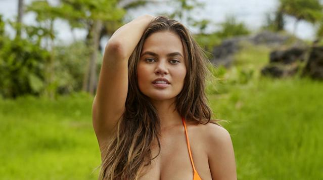 <p>Chrissy Teigen was photographed by James Macari in Sumba Island. Swimsuit by Ola Vida.</p>