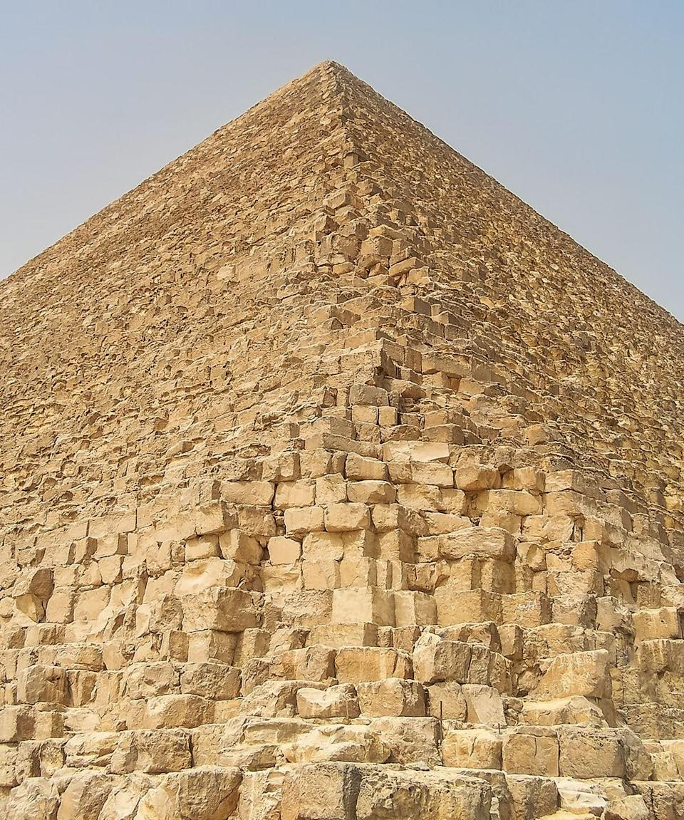 """<p>Speaking of stones, a single limestone brick used in the Great Pyramids weighs approximately <a href=""""https://www.pbs.org/wgbh/nova/pyramid/geometry/blocks.html"""" rel=""""nofollow noopener"""" target=""""_blank"""" data-ylk=""""slk:2.5 tons"""" class=""""link rapid-noclick-resp"""">2.5 tons</a>, on average. With no mechanical machinery around during the days of construction, it's a wonder how the bricks were moved.</p>"""