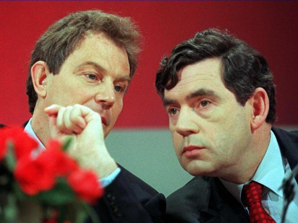 Tony Blair and Gordon Brown conferring at a press conference on 10 April, 1997 (AFP via Getty)
