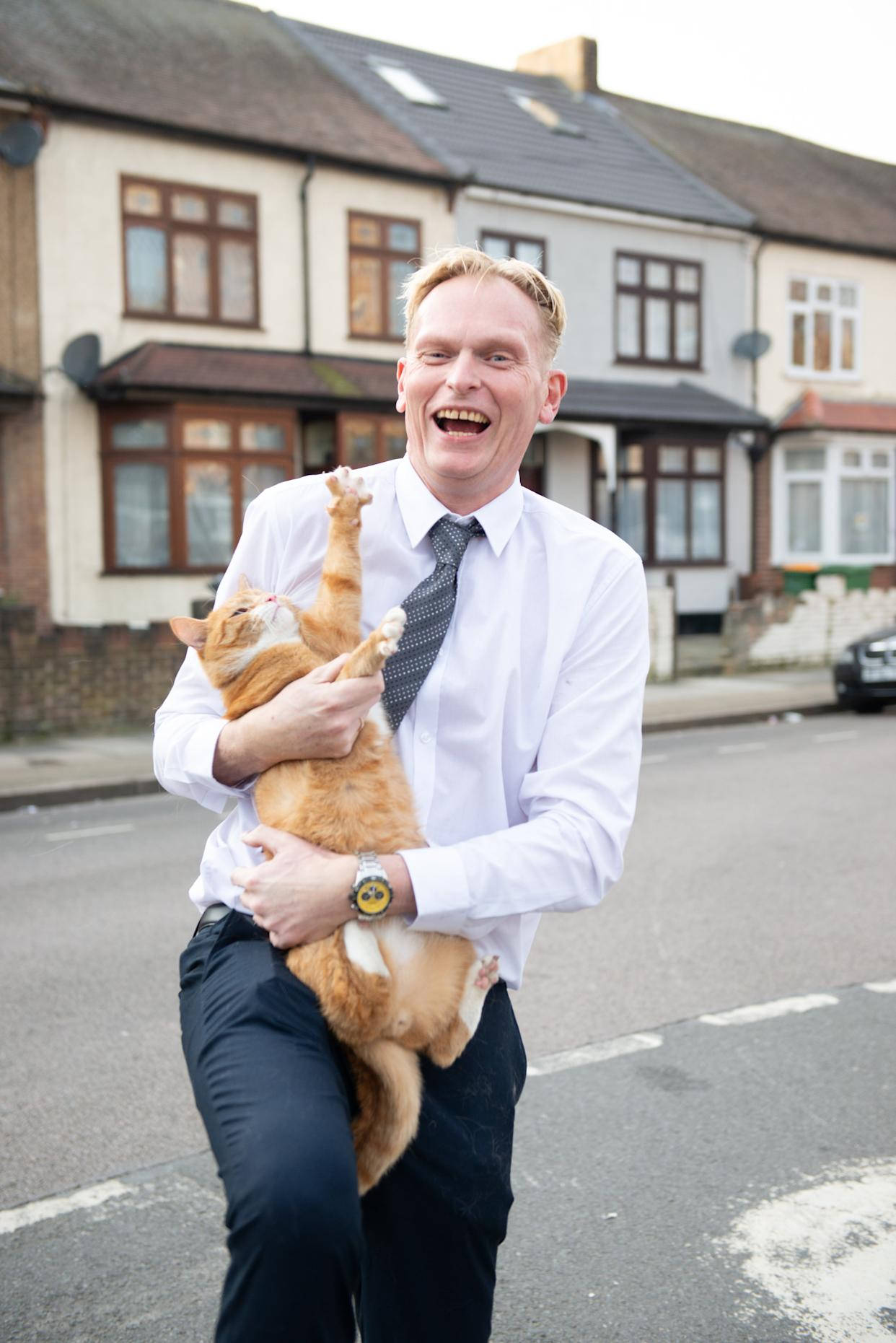 Andy Kindell, 52, bought moggy Alex a special £130 collar with a GPS tracking chip so he could monitor the cat's location via an app on his phone.