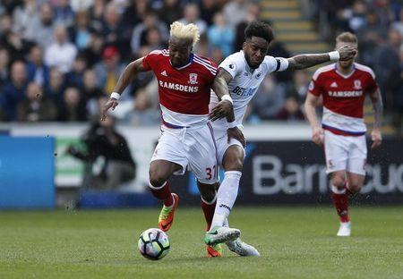 Britain Football Soccer - Swansea City v Middlesbrough - Premier League - Liberty Stadium - 2/4/17 Middlesbrough's Adama Traore in action with Swansea City's Leroy Fer Action Images via Reuters / Andrew Boyers Livepic