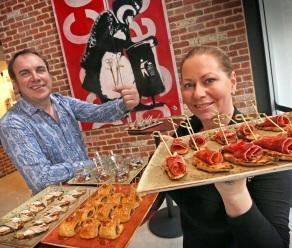 David Heaton and Linda Linda Fry with a selection of pintxos. Picture: Michael O'Brien/The West Australian