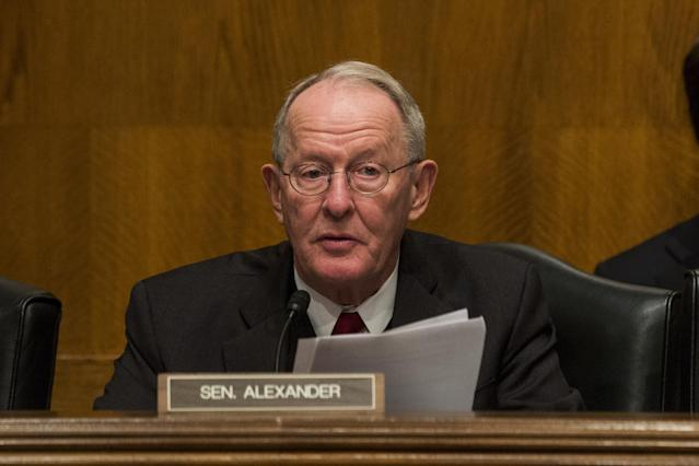Sen. Lamar Alexander, R-Tenn., at a hearing Thursday. (Photo: Zach Gibson/Bloomberg via Getty Images)