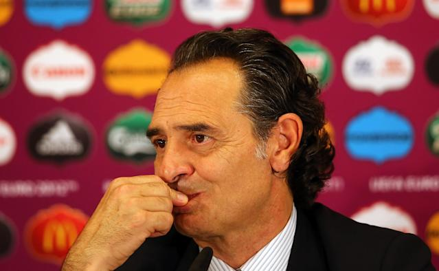 KIEV, UKRAINE - JULY 01: In this handout image provided by UEFA, Coach Cesare Prandelli of Italy talks to the media after the UEFA EURO 2012 Final match between Spain and Italy at the Olympic Stadium on July 1, 2012 in Kiev, Ukraine. (Photo by Handout/UEFA via Getty Images)