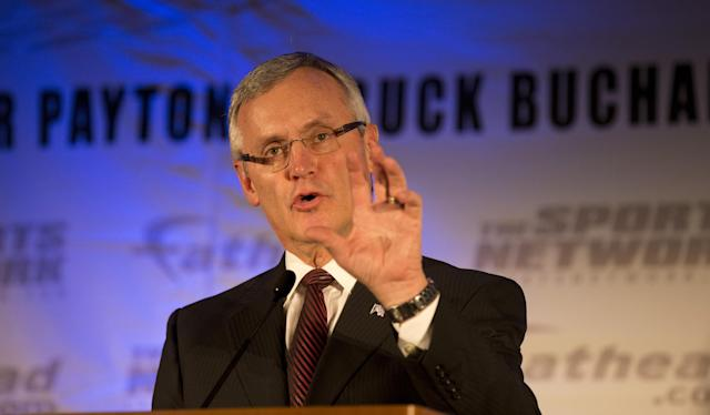 PHILADELPHIA, PA - DECEMBER 16: Jim Tressel speaks during the Sports Network's 27th Annual FCS Awards Presentation at the Sheraton Society Hill on December 16, 2013 in Philadelphia, Pennsylvania. (Photo by Mitchell Leff/Getty Images)