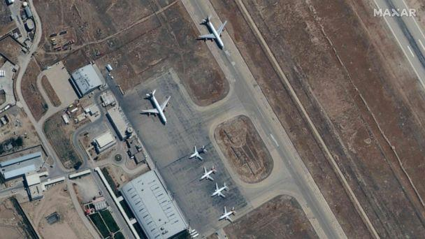 PHOTO: This handout satellite image released by Maxar Technologies shows grounded commercial planes at the the Mazar-i-Sharif airport in northern Afghanistan on Sept. 3, 2021. (Maxar Technologies via AFP/Getty Images)