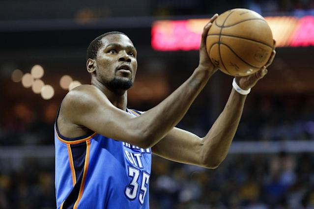 Oklahoma City Thunder forward Kevin Durant shoots a free throw in the second half of Game 6 of an opening-round NBA basketball playoff series Thursday, May 1, 2014, in Memphis, Tenn. Durant led Oklahoma City with 36 points as they won 104-84 to even the series 3-3. (AP Photo/Mark Humphrey)