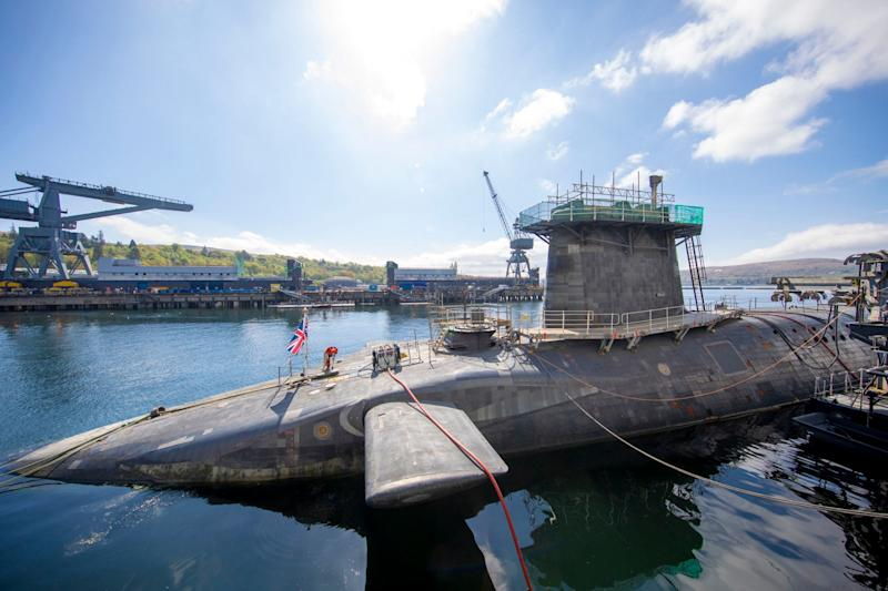 HMS Vigilant at HM Naval Base Clyde, Faslane, which carries the UK's Trident nuclear deterrent: PA