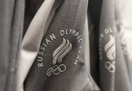 FILE PHOTO: The logo of Russian Olympic team is seen on the uniform designed by ZASPORT, the official clothing supplier for national athletes competing in 2018 Winter Olympics, during its presentation in Moscow, Russia January 22, 2018. REUTERS/Maxim Shemetov/File Photo