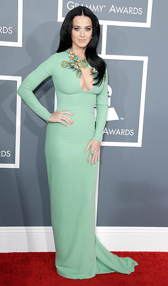 LOS ANGELES, CA - FEBRUARY 10:  Singer Katy Perry attends the 55th Annual GRAMMY Awards at STAPLES Center on February 10, 2013 in Los Angeles, California.  (Photo by Jeff Vespa/WireImage)