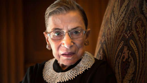 PHOTO: Supreme Court Justice Ruth Bader Ginsburg, celebrating her 20th anniversary on the bench, is photographed in the West conference room at the U.S. Supreme Court in Washington on Aug. 30, 2013. (The Washington Post via Getty Images, File)