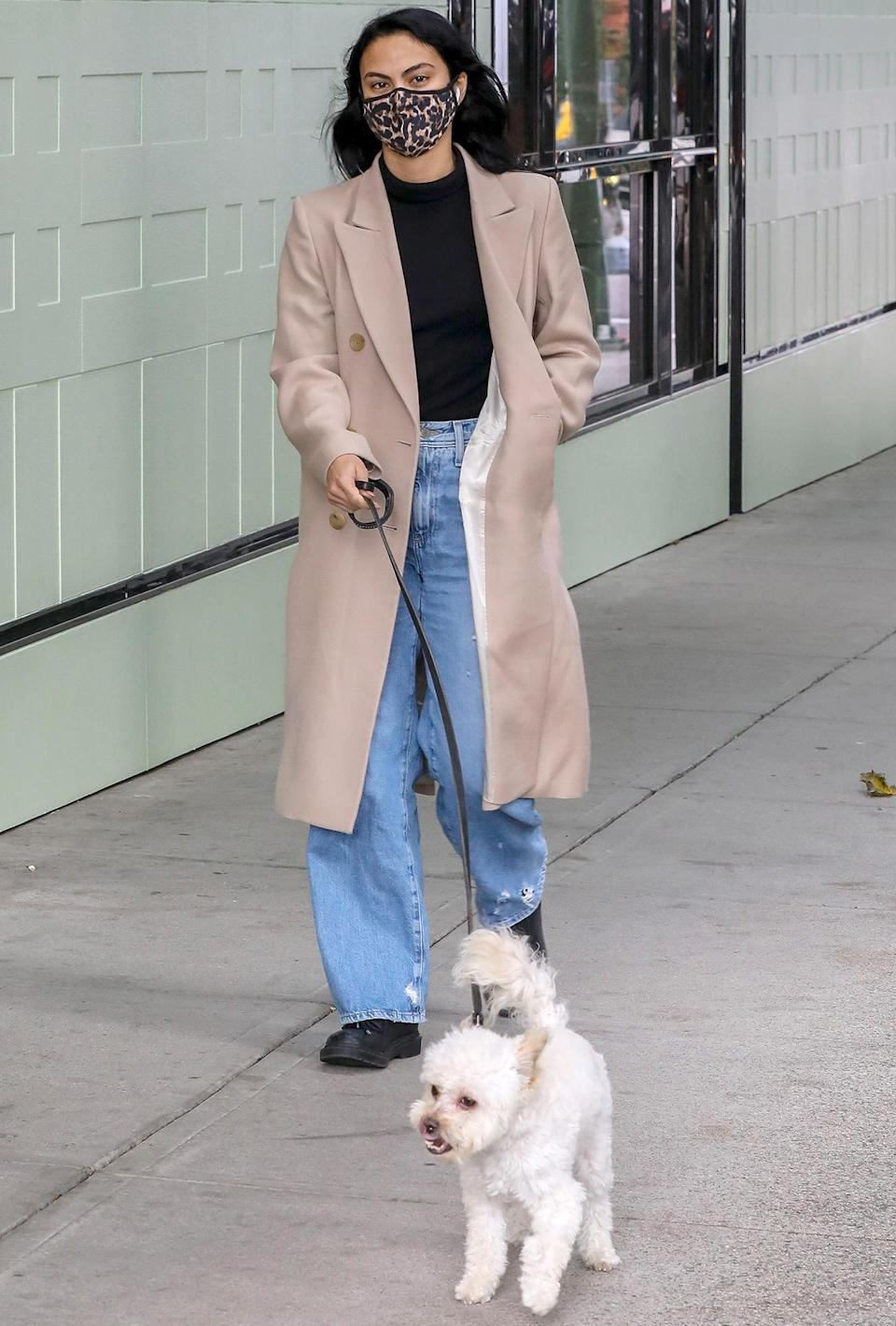 <p>Camila Mendes takes a walk with her pup in Vancouver, Canada on Wednesday. </p>