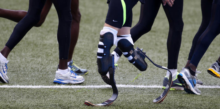 Oscar Pistorius of South Africa, wearing his prosthetic running blades, takes part in a training session for the IAAF Daegu 2011 World Championship in Daegu August 24, 2011. (REUTERS/Max Rossi)