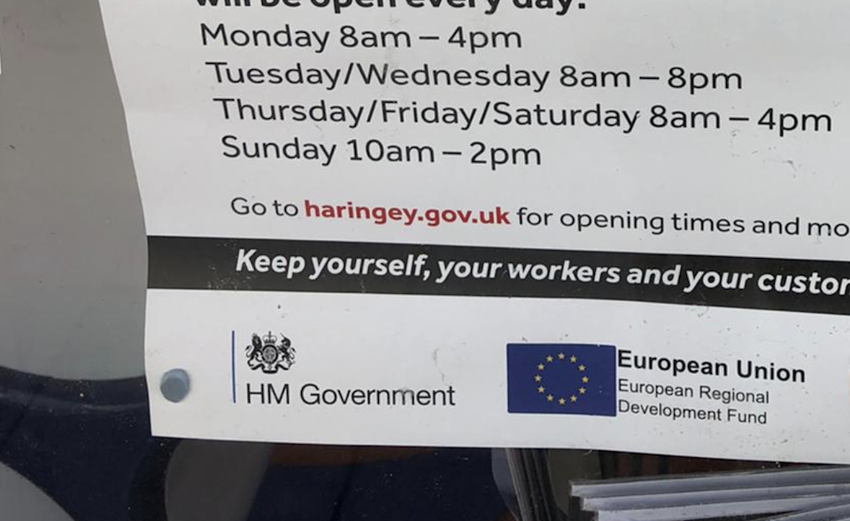 An example of a poster funded under the scheme bearing the required EU flag, spotted in north London (Olivia Alabaster / The Independent)