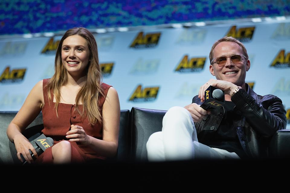 SEATTLE, WA - JUNE 23:  Elizabeth Olsen and Paul Bettany speak on stage during ACE Comic Con at WaMu Theature on June 23, 2018 in Seattle, Washington.  (Photo by Mat Hayward/Getty Images)