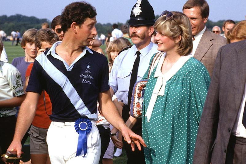 Princess Diana once again at a polo match—now pictured with her husband—while pregnant with Prince William.