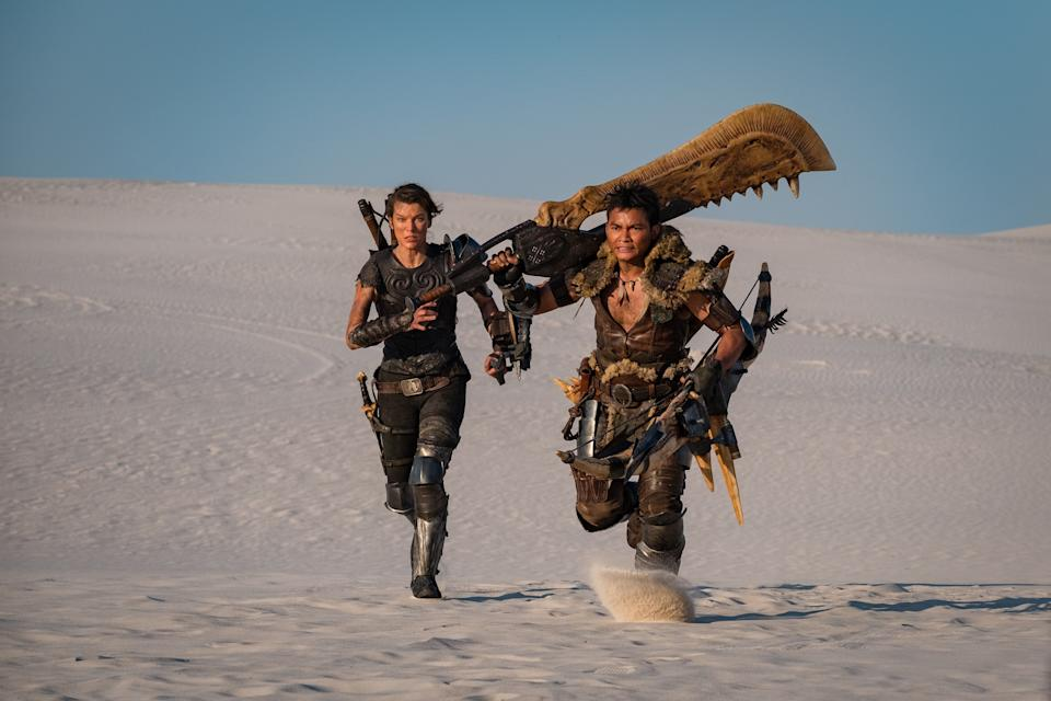 Milla Jovovich and Tony Jaa in Monster Hunter.