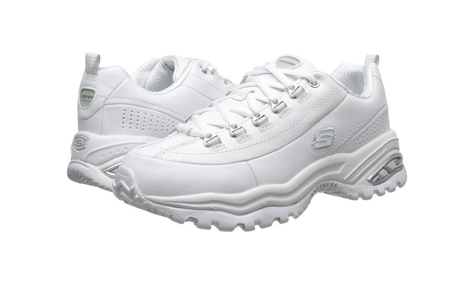 """<strong><a href=""""https://fave.co/2VOwiUn"""" rel=""""nofollow noopener"""" target=""""_blank"""" data-ylk=""""slk:Skechers Premiums in smooth white leather"""" class=""""link rapid-noclick-resp"""">Skechers Premiums in smooth white leather</a> (Photo: Zappos)</strong>"""