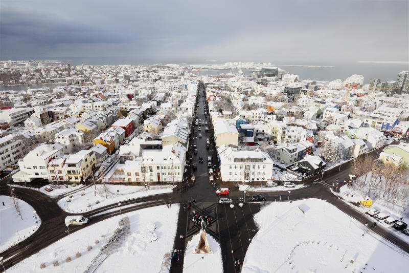 View on Reykjavik from the top of the Hallgrimskirkja tower.