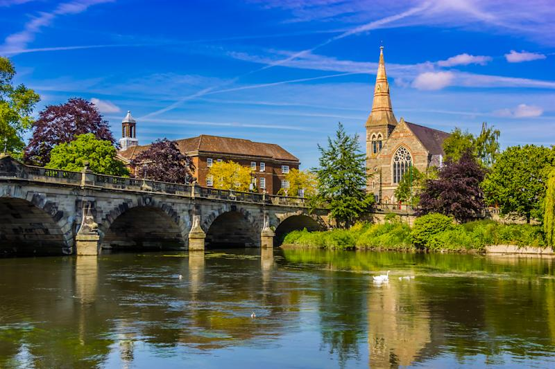 The english bridge in Shrewsbury.