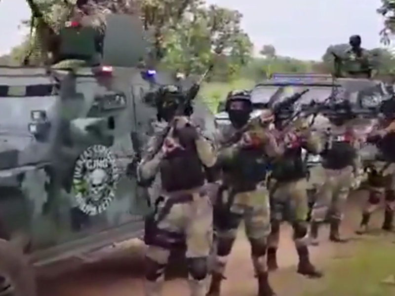 A still from a video apparently released by the Jalisco New Generation Cartel showing the group's military power: CJNG