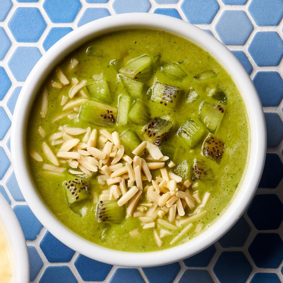 <p>Green matcha powder and spinach give this healthy smoothie bowl a beautiful green hue. Be sure to use frozen bananas (not fresh) to keep the texture thick, creamy and frosty.</p>