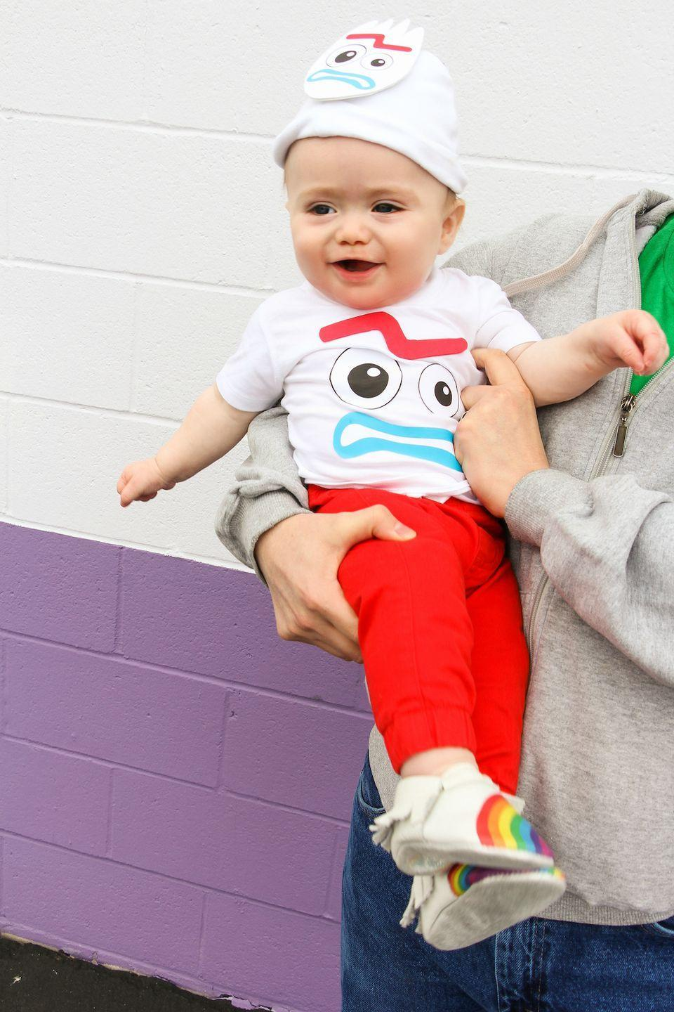"""<p>He may not think he's a toy, but he sure does make one adorable DIY Halloween costume idea.</p><p><em><a href=""""https://briteandbubbly.com/diy-toy-story-4-forky-mommy-and-me-outfit/"""" rel=""""nofollow noopener"""" target=""""_blank"""" data-ylk=""""slk:Get the tutorial at Brite and Bubbly »"""" class=""""link rapid-noclick-resp"""">Get the tutorial at Brite and Bubbly »</a></em></p><p><strong>RELATED: </strong><a href=""""https://www.goodhousekeeping.com/holidays/halloween-ideas/g28380986/best-toy-story-halloween-costumes/"""" rel=""""nofollow noopener"""" target=""""_blank"""" data-ylk=""""slk:The Best Toy Story Costumes for Halloween"""" class=""""link rapid-noclick-resp"""">The Best <em>Toy Story</em> Costumes for Halloween</a><br></p>"""