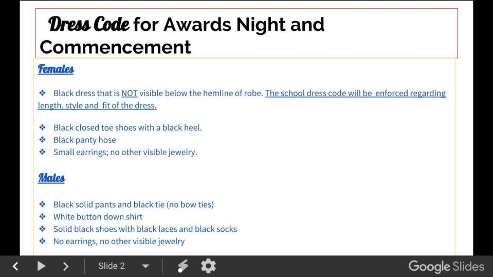 Cumberland Polytechnic High School recently changed its graduation dress code, allegedly shown here, agreeing that girls can wear pants. (Screenshot: Courtesy of Lacey Henry)