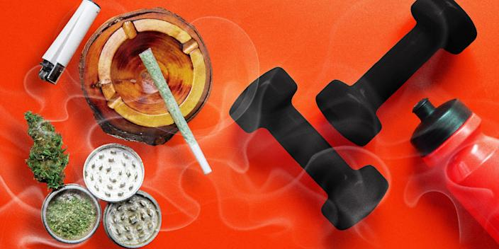 Flat-lay of dumbbells, water bottle, marijuana, and various smoking paraphernalia on top of a red background