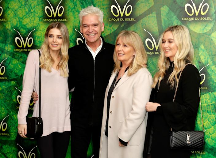 Phillip Schofield with wife Stephanie Lowe and daughters Molly and Ruby. (Getty Images)