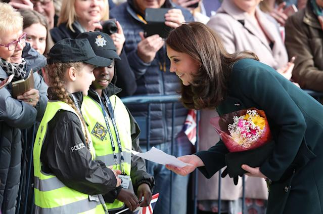 Two young fans dressed in police officer outfits met the Duchess of Cambridge in Sunderland. (PA Images)