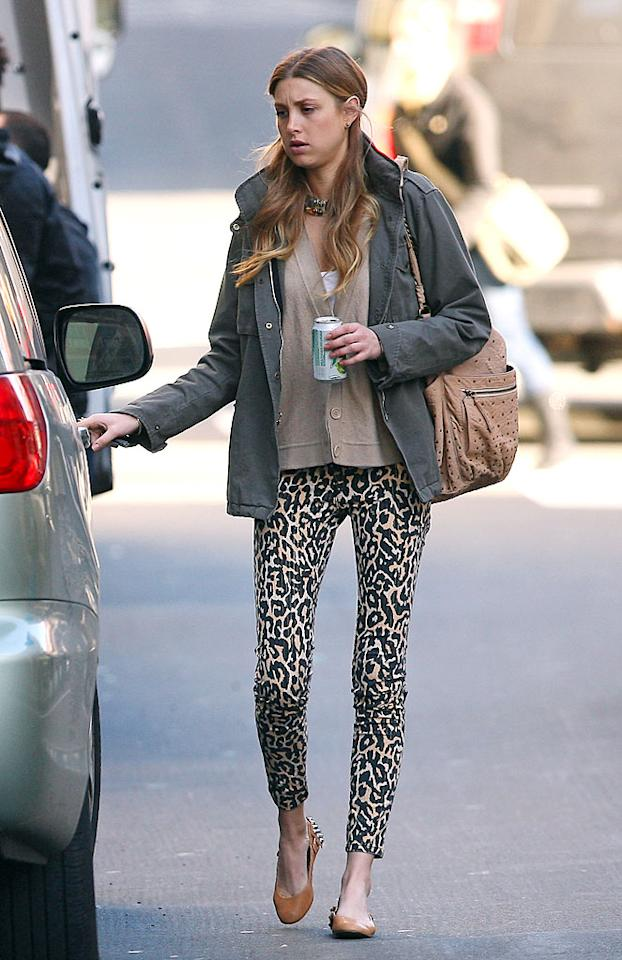 """""""The City's"""" Whitney Port is another so-called fashionista whose taste is questionable at times. Case in point: these skinny leopard-print pants. 893/<a href=""""http://www.splashnewsonline.com/"""" target=""""new"""">Splash News</a> - March 24, 2010"""