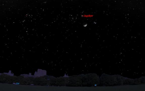 This sky map shows the location of Jupiter and the moon at 9 p.m. local time in the western sky on Feb. 17, 2013, as viewed from mid-northern latitudes.