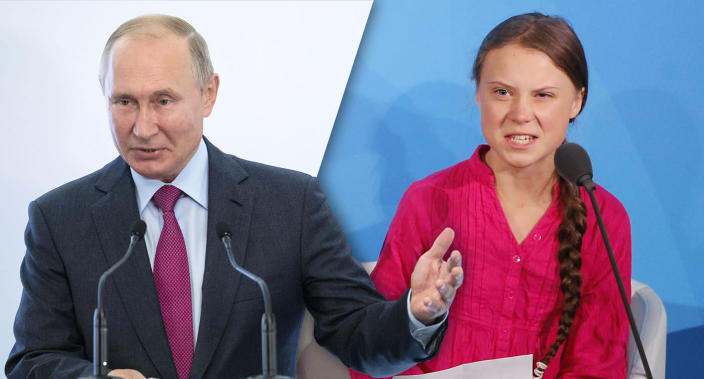 Russian President Vladimir Putin and Swedish teen climate activist Greta Thunberg (Photos: Pavel Golovkin/AP, Jason DeCrow/AP)