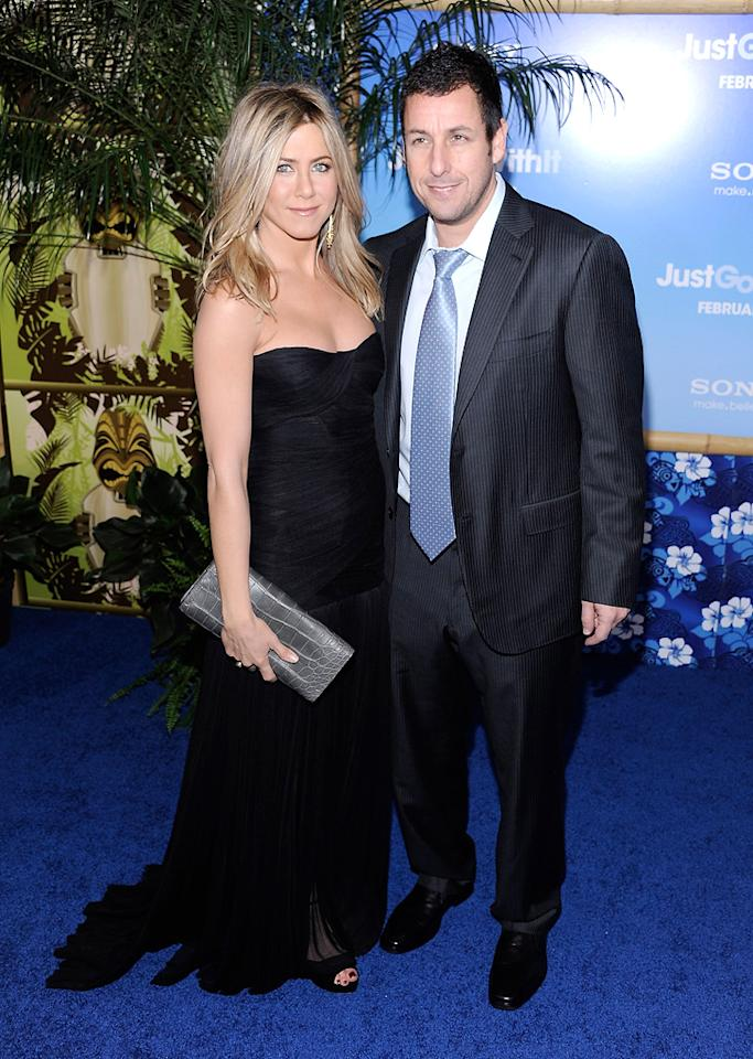 """<a href=""""http://movies.yahoo.com/movie/contributor/1800021397"""">Jennifer Aniston</a> and <a href=""""http://movies.yahoo.com/movie/contributor/1800018711"""">Adam Sandler</a> attend the Los Angeles premiere of <a href=""""http://movies.yahoo.com/movie/1810150358/info"""">Just Go With It</a> on February 8, 2011."""