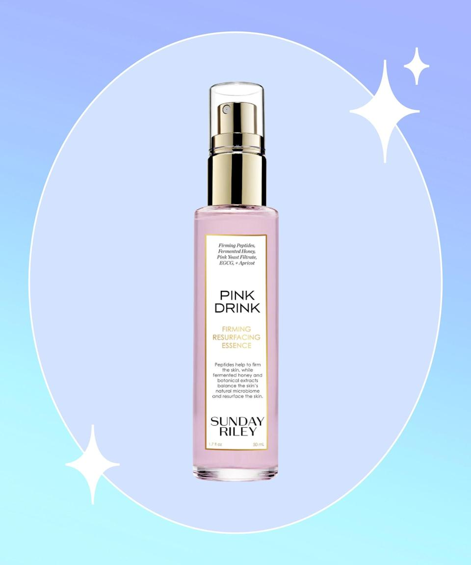 """<strong>Goal: </strong>Make your beauty products even more effective <br><br><strong>Use: </strong>Sunday Riley Pink Drink Firming Resurfacing Essence <br><br><strong>Why? </strong>An essence may have the feel of a toner (in that it's watery to the touch) and it follows the cleansing step, like a toner, but that's where the similarities end. While toners are often used to lift whatever residue the cleanser failed to wash away, essences are intended to inject nutrients back into the skin, while also acting as conduit for subsequent products to penetrate the skin barrier. This one has the added benefit of firming the skin and supporting the skin's natural microbiome with peptides, fermented honey, and botanical extracts. <br><br><strong>Sunday Riley</strong> Pink Drink Firming Resurfacing Essence, $, available at <a href=""""https://go.skimresources.com/?id=30283X879131&url=https%3A%2F%2Fwww.sephora.com%2Fproduct%2Fsunday-riley-pink-drink-firming-resurfacing-essence-P463964%3Fi-cid2%3Dproducts%2520grid%3Ap463964"""" rel=""""nofollow noopener"""" target=""""_blank"""" data-ylk=""""slk:Sephora"""" class=""""link rapid-noclick-resp"""">Sephora</a>"""