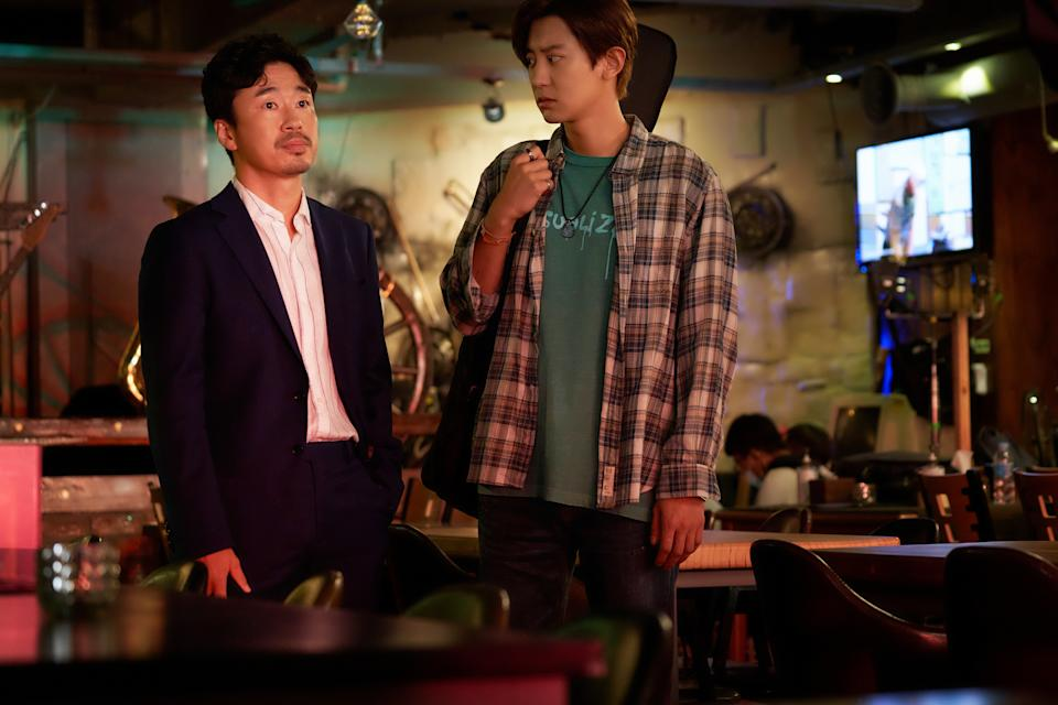 Jo Dal Hwan and Exo rapper Chanyeol in The Box. (Still: Golden Village Pictures)