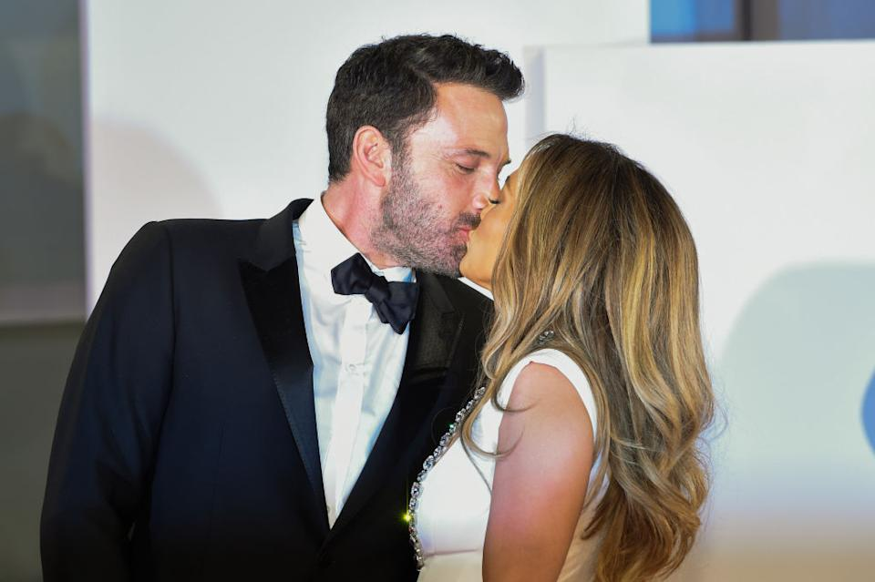 Affleck and Lopez steal a kiss in Venice earlier this month. (Getty Images)