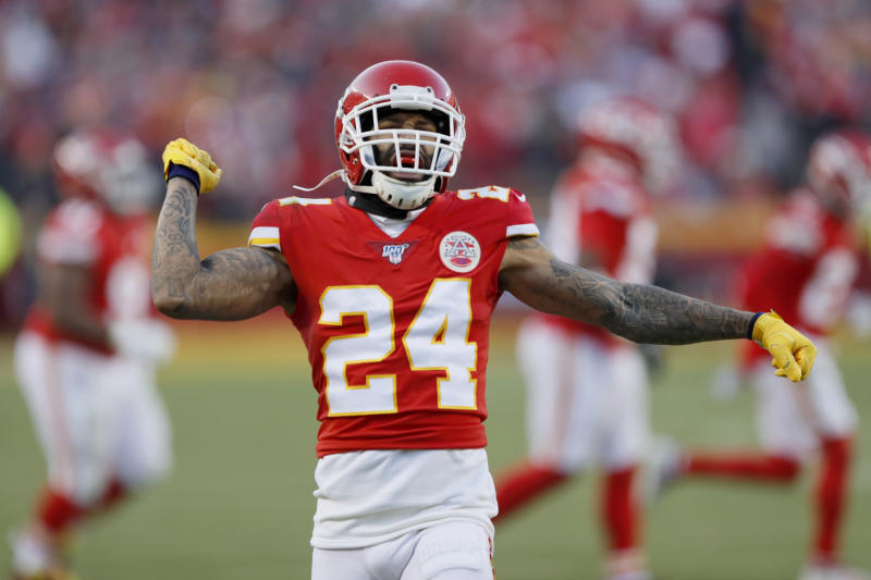 Kansas City Chiefs' Jordan Lucas reacts to a kick off stop during the second half of the NFL AFC Championship football game against the Tennessee Titans Sunday, Jan. 19, 2020, in Kansas City, MO. (AP Photo/Charlie Neibergall)