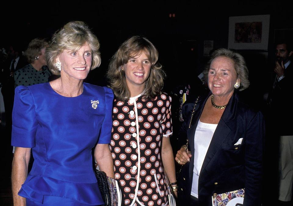 <p>Jean, her niece Kerry Kennedy, and her sister-in-law Ethel caught up at a charity art auction at Christie's in New York City.</p>