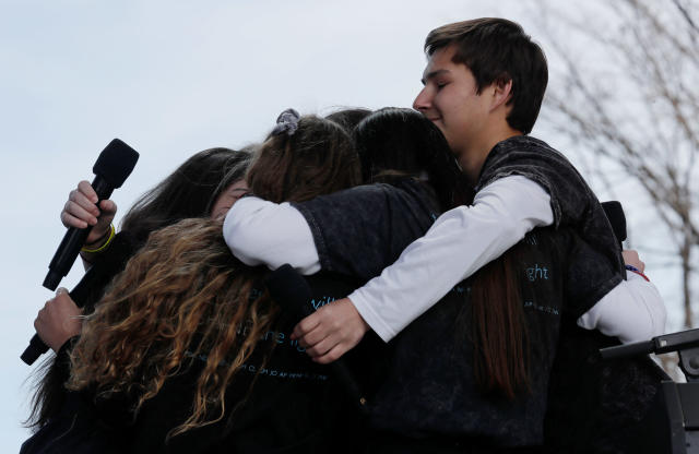 "<p>Students and school shooting survivors embrace at the conclusion of the ""March for Our Lives"" event demanding gun control after recent school shootings at a rally in Washington, U.S., March 24, 2018. (Jonathan Ernst/Reuters) </p>"