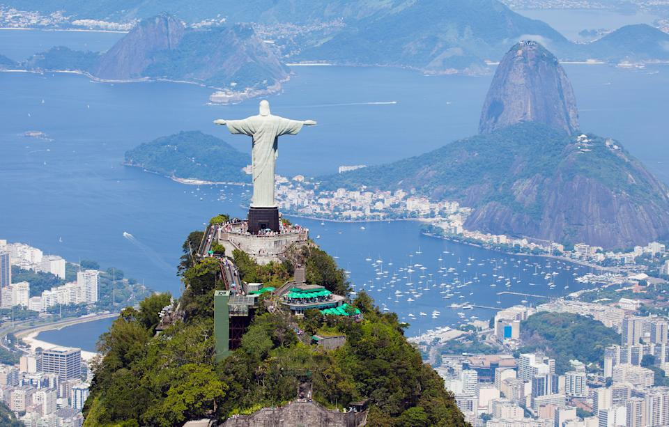 Rio de Janeiro, Brazil - December 28, 2013: Aerial view from a helicopter of Rio de Janeiro with the Corcovado mountain and the statue of Christ the Redeemer with Sugarloaf mountain in the background.