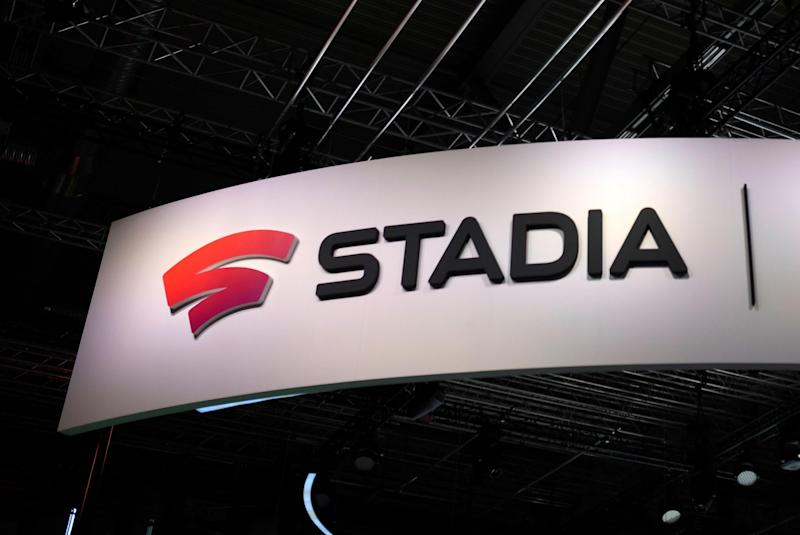 The logo of Stadia at the stand of Google Stadia is viewed during the Video games trade fair Gamescom in Cologne, western Germany: AFP via Getty Images
