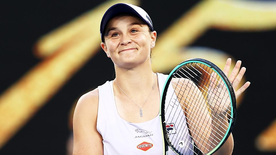 World No.1 Ash Barty (pictured) smiles and thanks the crowed after she advanced to the second round of the Australian Open.