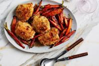 """Who isn't looking for a quick-to-make, easy-to-love dinner for busy weeknights? This roast chicken recipe will become one of your MVPs. Looking for more easy chicken dinners? Check out all of our <a href=""""https://www.epicurious.com/ingredients/12-reasons-to-fall-in-love-with-chicken-thighs-gallery?mbid=synd_yahoo_rss"""" rel=""""nofollow noopener"""" target=""""_blank"""" data-ylk=""""slk:best chicken thigh recipes"""" class=""""link rapid-noclick-resp"""">best chicken thigh recipes</a>. <a href=""""https://www.epicurious.com/recipes/food/views/panko-crusted-roast-chicken-thighs-with-mustard-and-thyme?mbid=synd_yahoo_rss"""" rel=""""nofollow noopener"""" target=""""_blank"""" data-ylk=""""slk:See recipe."""" class=""""link rapid-noclick-resp"""">See recipe.</a>"""