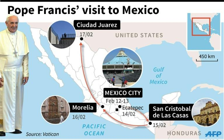Map of Mexico detail Pope Francis' itinerary on his forthcoming visit