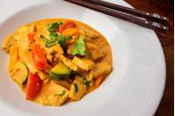 """<p>If anyone ever said vegetarian food was bland, they hadn't tried thai curry. And yes, you can still have it even if you're meat-free. Try <a rel=""""nofollow noopener"""" href=""""http://veganyackattack.com/2012/06/27/crispy-tofu-thai-curry-june-vegan-food-swap/"""" target=""""_blank"""" data-ylk=""""slk:Vegan Yack Attack's recipe"""" class=""""link rapid-noclick-resp"""">Vegan Yack Attack's recipe</a> for crispy tofu thai curry. [Photo: Getty] </p>"""