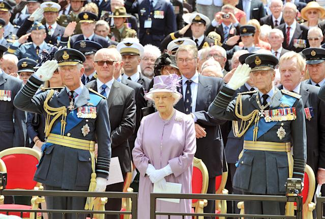 Queen Elizabeth II, the Duke of Edinburgh and Prince of Wales at the unveiling of the Bomber Command Memorial in Green Park, London. (PA Wire)