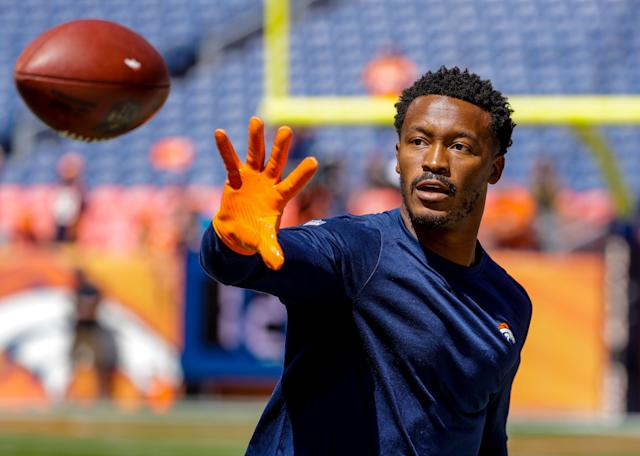 "<a class=""link rapid-noclick-resp"" href=""/nfl/players/23997/"" data-ylk=""slk:Demaryius Thomas"">Demaryius Thomas</a> is happy to be alive after a 70 mph car crash in Denver during the offseason. (AP Photo/Jack Dempsey)"